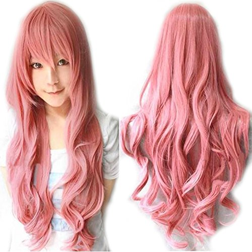 "S-noilite 32"" Cosplay Long Bangs Full Wig Pink Costume Wigs Fancy Dress by USPS"