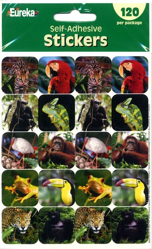 Eureka Rainforest Creatures Real Photos Stickers