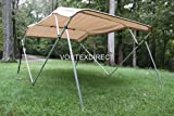 "New Tan/Beige Vortex 4 Bow Bimini Top 8' Long, 61-66"" Wide, 54"" High, Complete Kit, Frame, Canopy, and Hardware (FAST SHIPPING - 1 TO 4 BUSINESS DAY DELIVERY)"