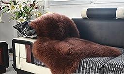6Button(TM) Sheepskin Rug Single Pelt Coffee Fur, Approx. 2ft x 3ft