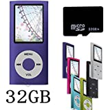 Btopllc MP4/MP3 Player-with 32 GB Micro SD Card-1.81'' Screen Music Player, Audio Player, Media Player, Voice Recorder (Purple)
