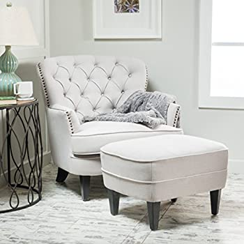 Alfred Natural Fabric Club Chair with Ottoman