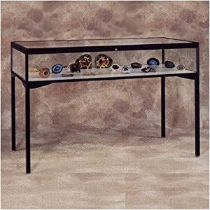 "Keepsake 3000 Series Cases (Four Leg Table Top) Case Top: Sliding Door, Frame Color: Satin, Size: 48""L x 10""H x 24""D"