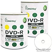 Smart Buy 200 Pack DVD-R 4.7gb 16x White Top Blank Data Video Movie Record Disc 200 Disc 200pk