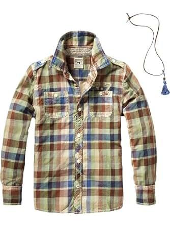 Scotch Shrunk Jungen Top 12440820506 - longsleeve co/linen shirt+necklace, Gr. 104 (4), Mehrfarbig (M - dessin M)