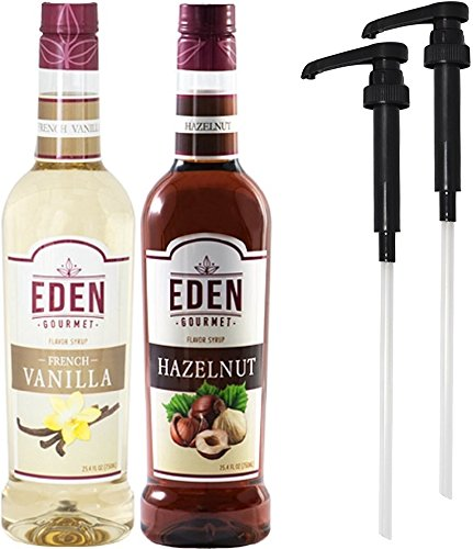 Eden Gourmet - French Vanilla & Hazelnut Naturally Flavored Syrup 750ml bottles - Set of 2 - Pumps included (Vanilla Syrup For Soda Pump compare prices)