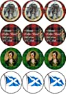 12 x Burns Night edible rice paper fairy / cup cake toppers pre cut decorations
