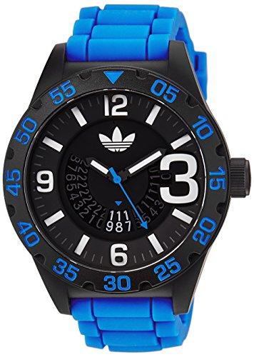 Adidas ADH2966 'Newburgh' o de un índice de correa de silicona color azul/negro de 48 mm reloj de pulsera para mujer