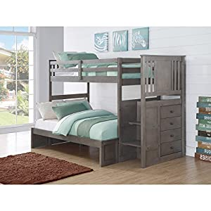 Donco Kids Twin over Twin Stairway Bunk Bed - Slate Gray
