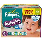 Pampers - 81371208 - Active Fit Couches - Taille 4 Maxi - 7-18 kg - Mégapack x 86 Couches