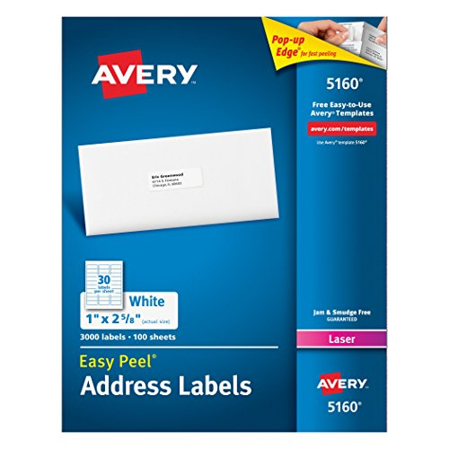 Avery Easy Peel White Mailing Labels for Laser Printers, 1 x 2.62 Inch, Box of 3000 Labels (5160) (Software For Avery Labels compare prices)
