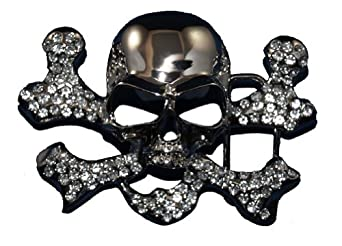 Rhinestone Pirate Skull Head Belt Buckle