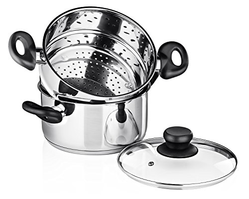 Chef's Star 3 Piece Stainless Steel Stack and Steam Pot Set - 2 Quart Steamer and 3 Quart Saucepot Set with Lid and Pots (Domed Pot Lid compare prices)