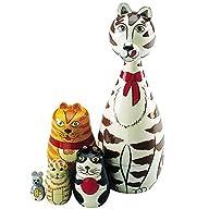 Wooden Russian Nesting Dolls Cat Figu…