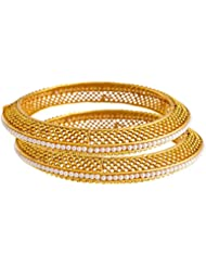 JFL - Traditional Ethnic One Gram Gold Plated Gold Bead Designer Openable Bangle Set Studded With Pearl For Women...
