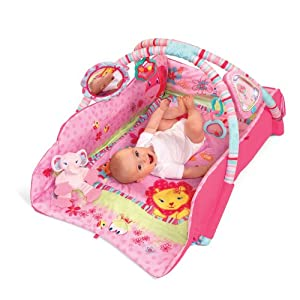Bright starts baby play mat game blanket crawling mat fitness rack pink