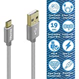 IVoltaa Data & Charging Micro USB Cable 6Ft Long, With Gold Plated Connectors And Thick Copper Wires (19 AWG)...