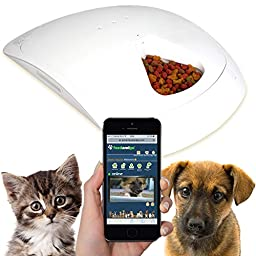 Feed and Go Smart Pet Feeder DOUBLE PACK With WEBCAM & WI-FI Built In. WET & DRY Food Friendly, Control From Anywhere With Any Computer/Tablet/Smartphone (Inc iOS, Android and Windows).