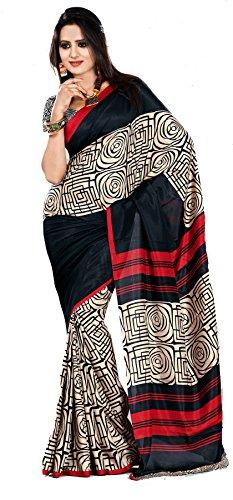 Samskruti Sarees Samskruti Spiral Design Black Art Silk Printed Saree (5993)
