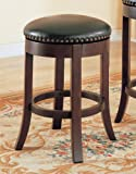 24 Inch Backless Bar Stool in Cherry with leather like seats accented with nail trim (Set of 2)