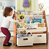 Kids Sling Bookshelf with Storage Bins - Natural Natural