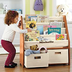 Kids' Sling Bookshelf with Storage Bins - Natural Natural