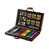 KIDDYCOLOR Portable Art Set - 79 Piece Kid's Wood Art Case