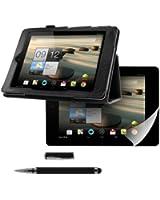 kwmobile® 3en1: Élégant étui en cuir pour Acer Iconia A1-810 / A1-811 en Noir avec FONCTION SUPPORT pratique + Film, transparent + Stylet, Noir