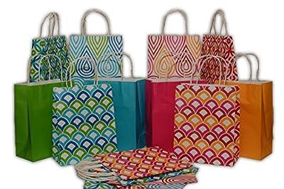"Assorted bright color Kraft paper gift bags, medium, set of 16 bags, 8"" x 10"" x 4"""