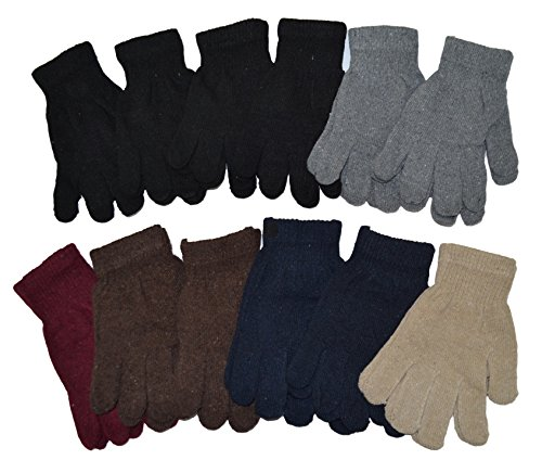 OPT®. Wholesale Lot 12 Pairs Adult Solid Plain Knit Magic Gloves Assorted Colors Unisex. USA Trademark Registered: 86522969. Free Shipping From New