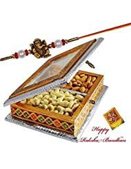 Ganesha Beads Rakhi With Dry Fruit Box