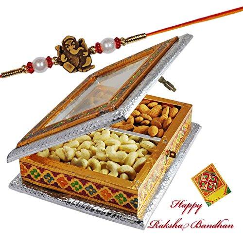 Ganesha Beads Rakhi With Dry Fruit Box