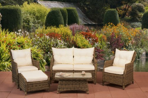 essella Polyrattan Garnitur Dublin in Naturbraun mit 4mm Rundgeflecht
