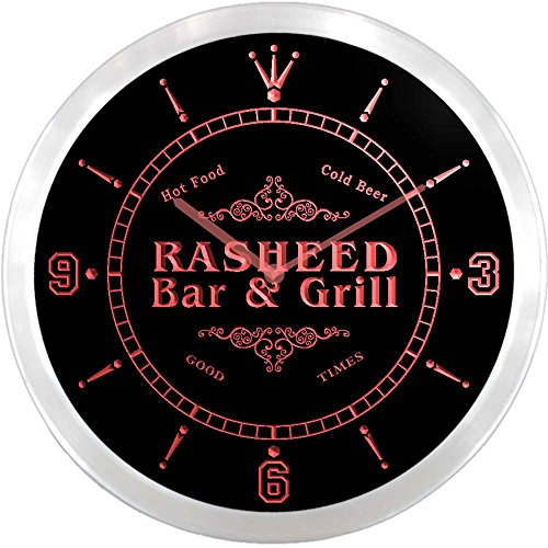 ncu36747-r RASHEED Family Name Bar & Grill Cold Beer Neon Sign LED Wall Clock