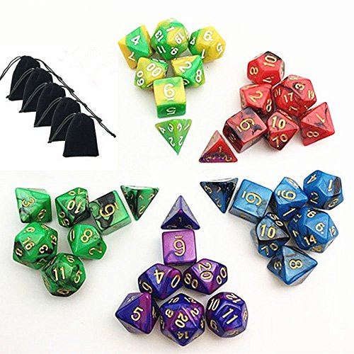 New-5-x-7-Die-Series-Polyhedral-Dice-Set-5-Colors-Dungeons-and-Dragons-DND-RPG-MTG-Table-Games-Dice-with-5-Free-Pouches