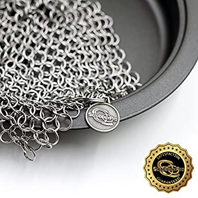 Scrubber Pro Best Cast Iron Cookware Cleaner - The Ultimate Solution for Cleaning (Pre)Seasoned Cast Iron - XLarge, 8x6 Inch, Handcrafted from Highest Grade Stainless Steel Chainmail