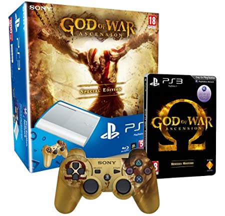 Sony PlayStation 3 Limited Edition White 500GB Super Slim Console with God of War Ascension Special Edition and Branded Dualshock 3 Controller (PS3)