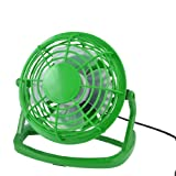 Amico 360 Degree Rotation Laptop PC Cool Cooler Green Plastic Desk Mini USB Fan 4""