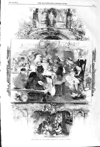 1857 ANTIQUE PRINT KING OF THE BEAN DINNER TABLE SCENE
