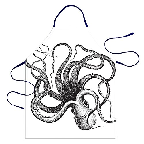 Huarda Fashion Personalized Customs Common octopus 100% Polyester Unisex Kitchen Aprons For Cooking And Barbecue