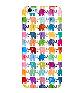 MULTICOLOURED ELEPHANT PATTERNS FOR KIDS IN A WHITE BACKGROUND 3D Hard Polycarbonate Designer Back Case Cover for Apple iPhone 6Plus