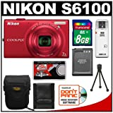 Nikon Coolpix S6100 16.0 MP Digital Camera (Red) with 8GB Card + Battery + Case + Accessory Kit