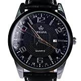 Orkina Black Dial Date Display Leather Strap Mens Business Fashion Wrist Watch