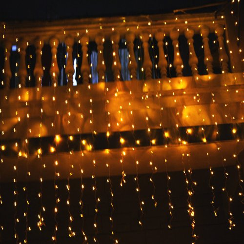 Fuloon(Tm) 6M X 3M 600 Led Outdoor Party String Fairy Wedding Curtain Light 8 Modes (Warm White)