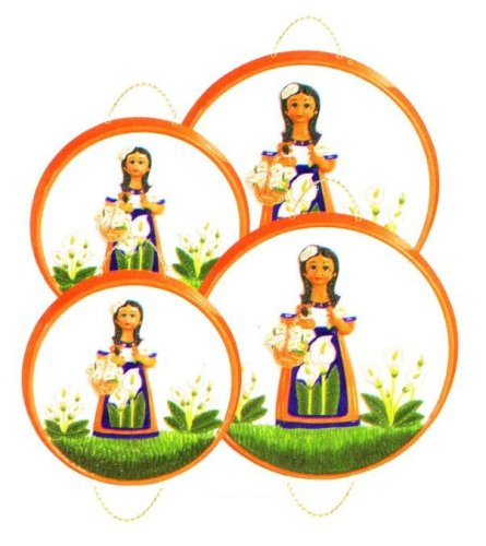 MEXICAN INDIAN LADY 3-D Stove / Burner Covers Set of 4 *NEW*