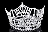 "Mid Size 3"" Tall Pageant Tiara Crown - Silver Plated Rhinestone Crystal T1016"