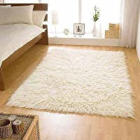 Flokati Shaggy Wool Rug, Ivory, 60 x 120 Cm by Flair