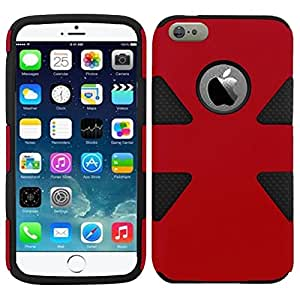 HR Wireless Dynamic Slim Hybrid Cover Case for iPhone 6 - Retail Packaging - Red/Black