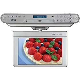 Coby KTFDVD1093SVR 10.2-Inch Under-the-Cabinet DVD/CD Player with Digital TV and Radio, Silver
