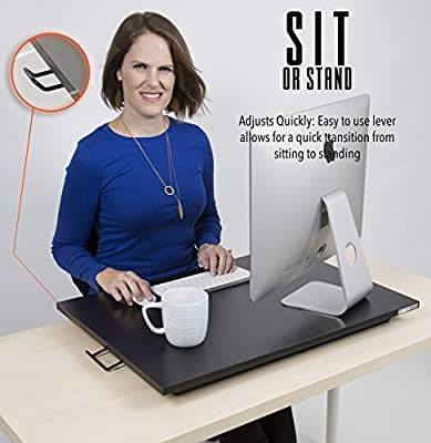 X-Elite Standing Desk- X-Elite Pro Size 28in x 20in - Height Adjustable Desk Converter - Instantly Convert any Desk to a Sit / Stand up Desk (Black)